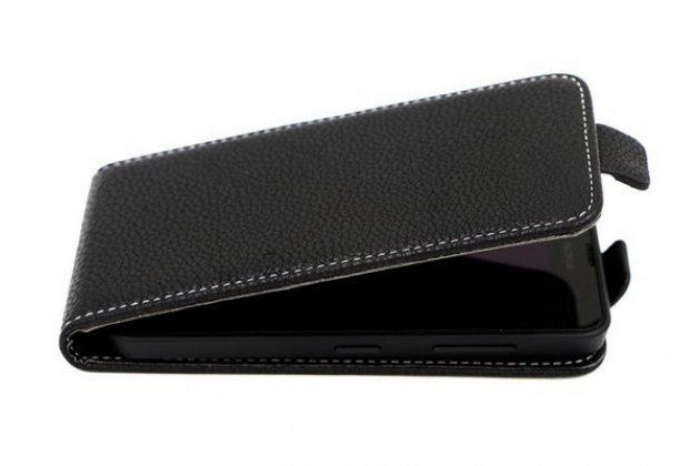 """Фирменный оригинальный вертикальный откидной чехол-флип для  Explay Golf черный из натуральной кожи """"Prestige"""" Италия"""