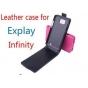 Фирменный оригинальный вертикальный откидной чехол-флип для Explay Infinity черный кожаный