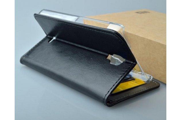Фирменный чехол-книжка из качественной импортной кожи с мульти-подставкой застёжкой и визитницей для Эксплей Вега черный