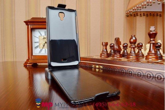 """Фирменный оригинальный вертикальный откидной чехол-флип для Explay Vega черный из качественной импортной кожи """"Prestige"""" Италия"""