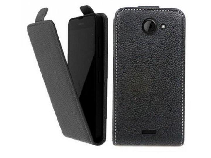 Фирменный оригинальный вертикальный откидной чехол-флип для  Explay Vision черный из натуральной кожи