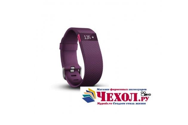 Фирменный оригинальный спортивный умный смарт-фитнес браслет Fitbit Charge HR (техническая упаковка) фиолетовый - Размер S