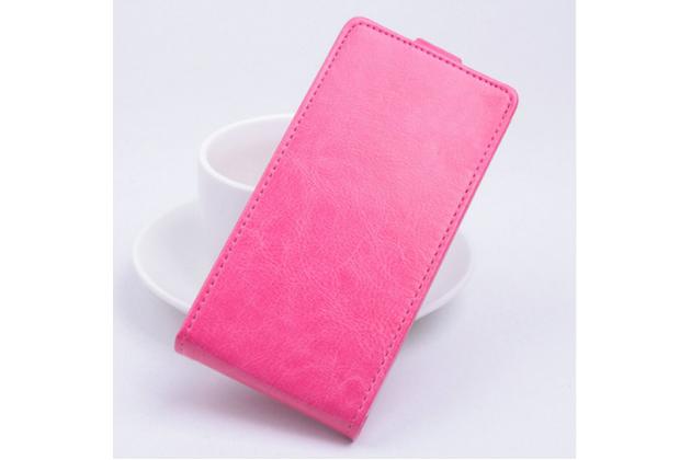 Фирменный оригинальный вертикальный откидной чехол-флип для Fly Cirrus 2 (FS504) розовый из натуральной кожи Prestige