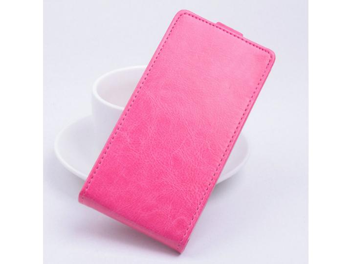 Фирменный оригинальный вертикальный откидной чехол-флип для Fly Cirrus 2 (FS504) розовый из натуральной кожи P..