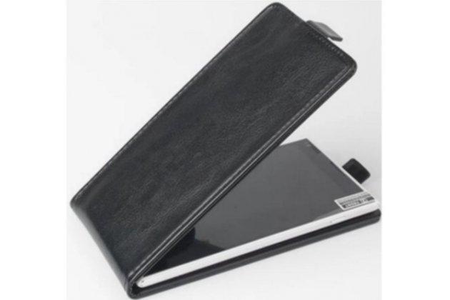 """Фирменный оригинальный вертикальный откидной чехол-флип для Fly IQ4417 ERA Energy 3 черный кожаный """"Prestige"""" Италия"""