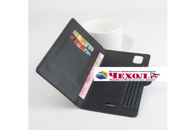 Фирменный чехол-книжка из качественной импортной кожи с подставкой застёжкой и визитницей для Флай Айкью 4601 ЕРА Стайл 2 черный