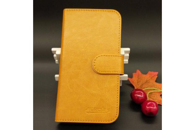 Фирменный чехол-книжка из качественной импортной кожи с мульти-подставкой застёжкой и визитницей для Fly Nimbus 10 FS512 коричневый