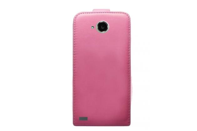 Фирменный оригинальный вертикальный откидной чехол-флип для Fly Nimbus 10 FS512 розовый из натуральной кожи Prestige Италия