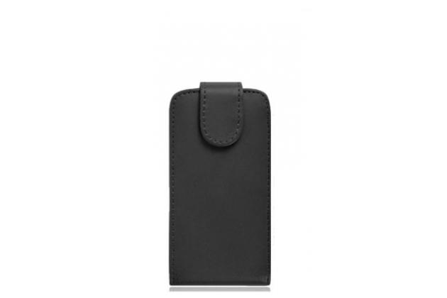 Фирменный оригинальный вертикальный откидной чехол-флип для Fly Nimbus 10 FS512 черный из натуральной кожи Prestige Италия
