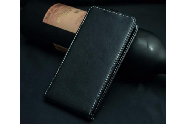 """Фирменный оригинальный вертикальный откидной чехол-флип для Fly Nimbus 3 (FS501)  черный из натуральной кожи """"Prestige"""" Италия"""