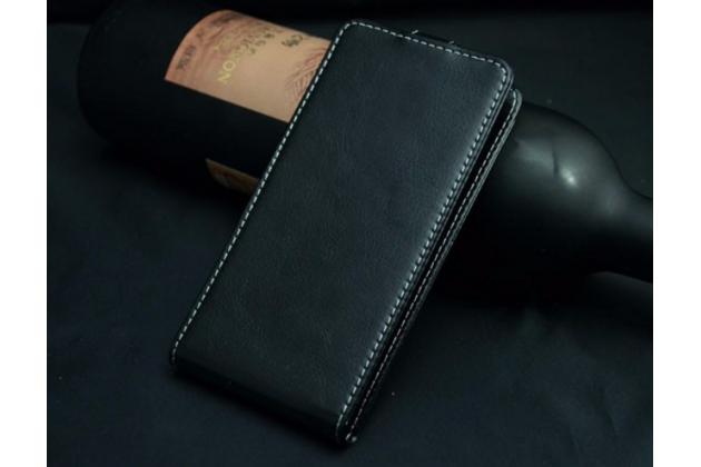 """Фирменный оригинальный вертикальный откидной чехол-флип для Fly Nimbus 4 (FS551)  черный из натуральной кожи """"Prestige"""" Италия"""