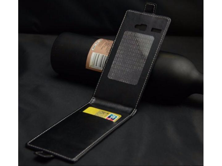 Фирменный оригинальный вертикальный откидной чехол-флип для Fly Stratus 1 (FS401)  черный из натуральной кожи ..