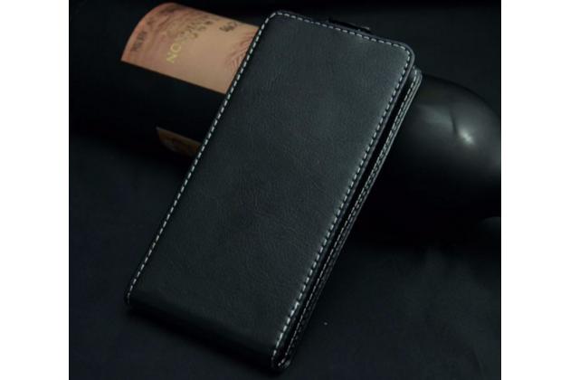 """Фирменный оригинальный вертикальный откидной чехол-флип для Fly Stratus 1 (FS401)  черный из натуральной кожи """"Prestige"""" Италия"""