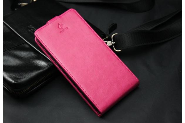 """Фирменный оригинальный вертикальный откидной чехол-флип для Fly Wileyfox Swift розовый из натуральной кожи """"Prestige"""" Италия"""