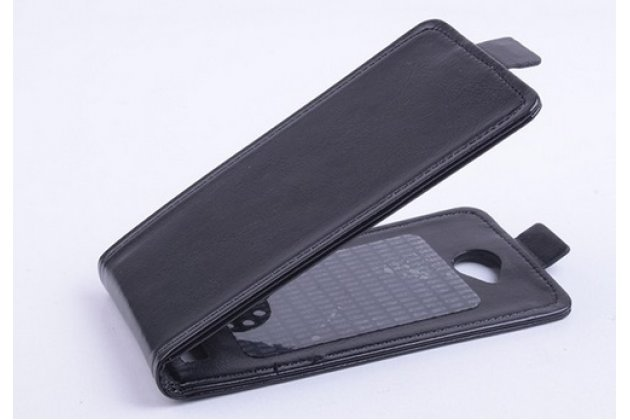 """Фирменный оригинальный вертикальный откидной чехол-флип для Fly IQ4418 ERA Style 4 черный кожаный """"Prestige"""" Италия"""