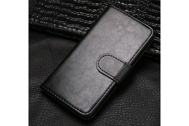 Фирменный чехол-книжка из качественной импортной кожи с подставкой застёжкой и визитницей для Fly IQ4418 ERA Style 4 черый