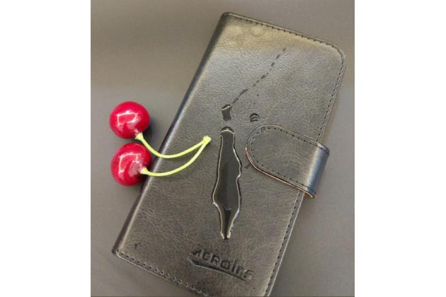 Фирменный чехол-книжка  из качественной импортной кожи с застёжкой и мультиподставкой для Fly FS511 Cirrus 7 черный