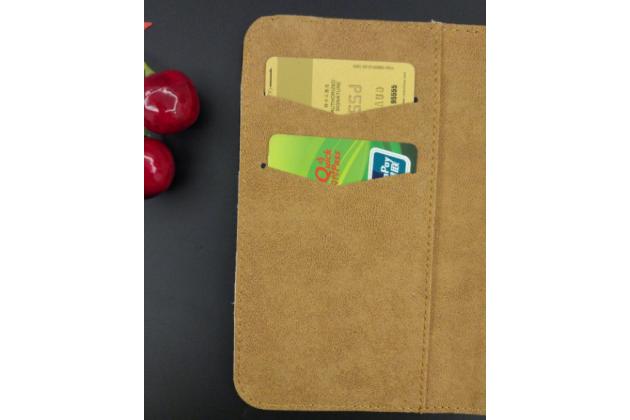 Фирменный чехол-книжка  из качественной импортной кожи с застёжкой и мультиподставкой для Fly FS511 Cirrus 7 коричневый