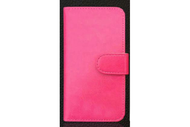 Фирменный чехол-книжка  из качественной импортной кожи с застёжкой и мультиподставкой для Fly FS511 Cirrus 7 розовый