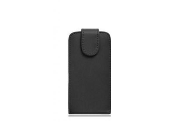 Фирменный оригинальный вертикальный откидной чехол-флип для Fly FS511 Cirrus 7 черный из натуральной кожи Prestige Италия