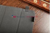 Чехол-обложка для Fly Flylife 7 черный с серой полосой кожаный