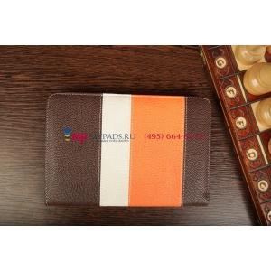 Чехол-обложка для Fly Flylife 7 коричневый с оранжевой полосой кожаный