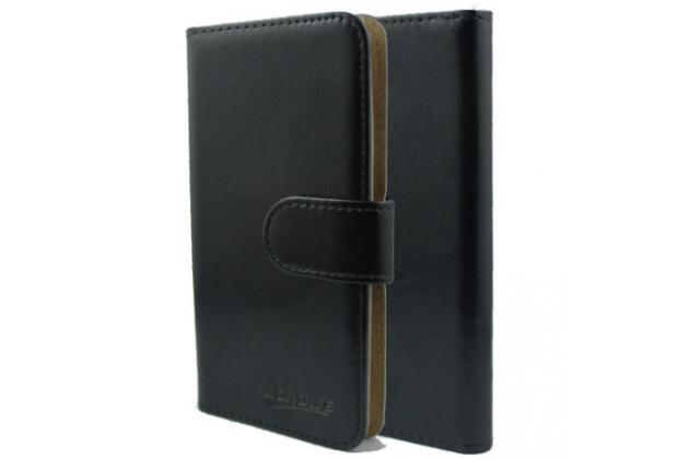 Фирменный чехол-книжка из качественной импортной кожи с мульти-подставкой застёжкой и визитницей для Fly Nimbus 11 FS455 черный