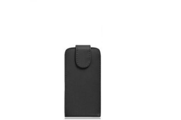 Фирменный оригинальный вертикальный откидной чехол-флип для Fly Nimbus 11 FS455 черный из натуральной кожи Prestige Италия