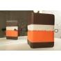 Чехол-обложка для Fly Flylife 8 коричневый с оранжевой полосой кожаный..
