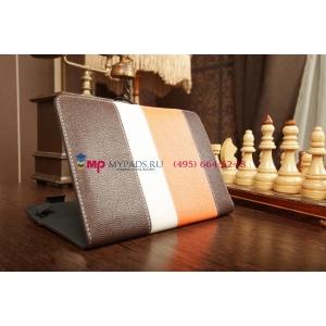 Чехол-обложка для Fly Flylife 8 коричневый с оранжевой полосой кожаный
