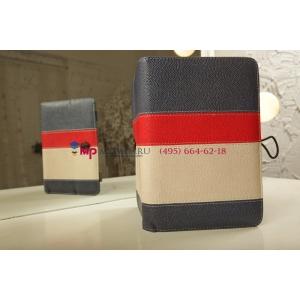 Чехол-обложка для Fly Flylife 8 синий с красной полосой кожаный