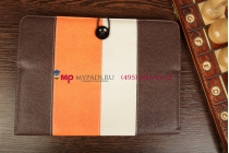 Чехол-обложка для Fly IQ360 коричневый с оранжевой полосой кожаный