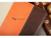 Чехол-обложка для Fly IQ360 коричневый с оранжевой полосой кожаный..