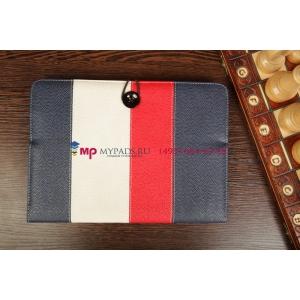 Чехол-обложка для Fly IQ360 синий с красной полосой кожаный