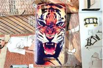 "Фирменная роскошная задняя панель-чехол-накладка с безумно красивым рисунком тигра на Fly IQ4414 EVO Tech 3 Quad"""