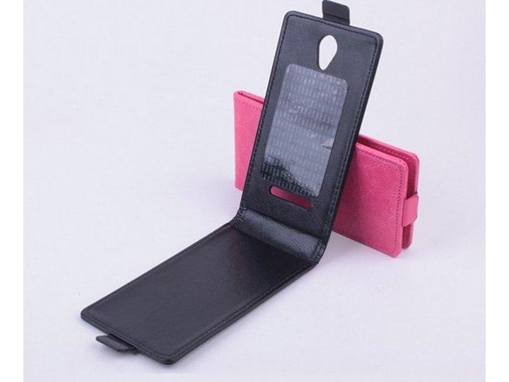 Фирменный оригинальный вертикальный откидной чехол-флип для Fly IQ4415 Quad ERA Style 3 черный кожаный