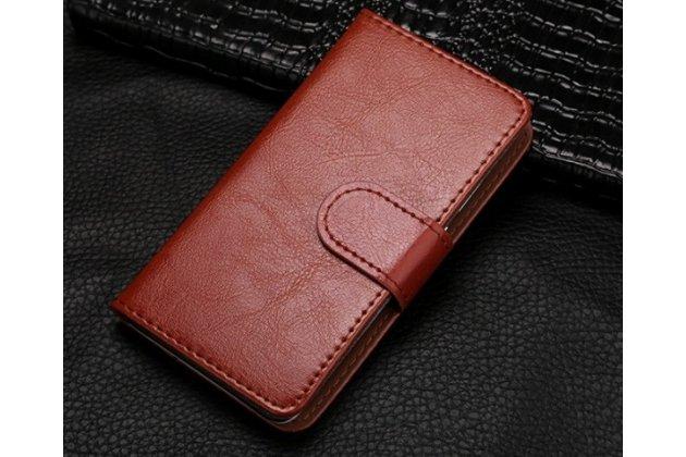 Фирменный чехол-книжка из качественной импортной кожи с подставкой застёжкой и визитницей для Fly IQ4416 ERA Life 5 коричневый