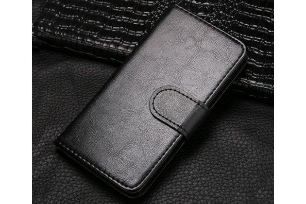 Фирменный чехол-книжка из качественной импортной кожи с подставкой застёжкой и визитницей для Fly IQ4416 ERA Life 5 черный