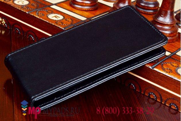 """Фирменный оригинальный вертикальный откидной чехол-флип для Fly IQ4416 ERA Life 5 черный кожаный """"Prestige"""" Италия"""