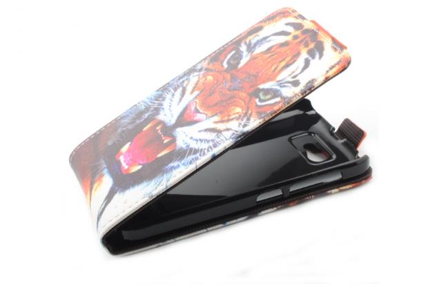 """Фирменный вертикальный откидной чехол-флип для Fly IQ441 Radiance"""" """"тематика Тигр"""""""