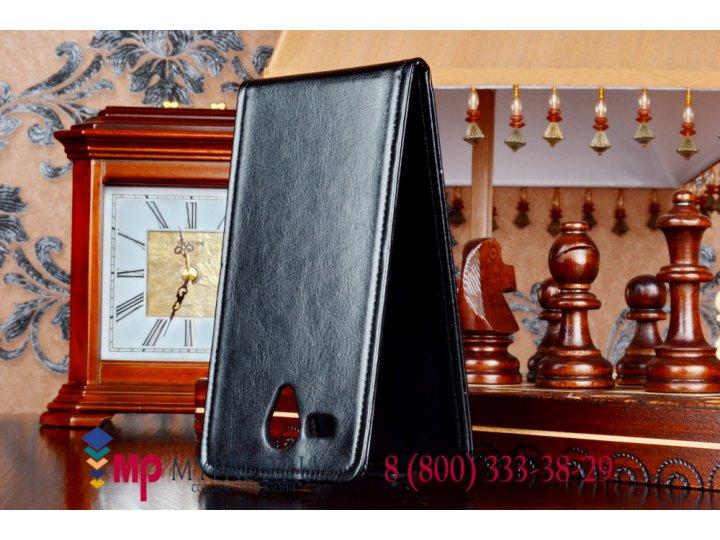 Фирменный оригинальный вертикальный откидной чехол-флип для Fly IQ4502 Era Energy 1 Quad черный кожаный