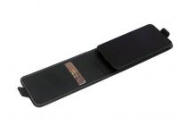 """Фирменный оригинальный вертикальный откидной чехол-флип для Fly IQ4505 ERA Life 7 Quad  черный из натуральной кожи """"Prestige"""" Италия"""