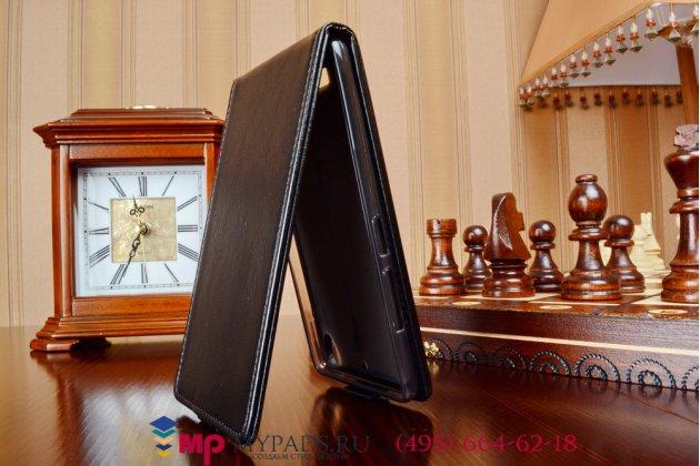 """Фирменный оригинальный вертикальный откидной чехол-флип для Fly IQ4516 Tornado Slim Octa черный натуральная кожа """"Prestige"""" Италия"""