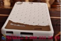 """Фирменная необычная уникальная полимерная мягкая задняя панель-чехол-накладка для Fly IQ4516 Tornado Slim Octa """"тематика Андроид в Белом Шоколаде"""""""