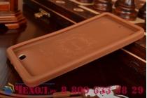 """Фирменная необычная уникальная полимерная мягкая задняя панель-чехол-накладка для Fly IQ4516 Tornado Slim Octa """"тематика Андроид в тёмном Шоколаде"""""""