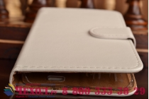 Фирменный чехол-книжка из качественной импортной кожи с мульти-подставкой застёжкой и визитницей для Флай Айкью4516 Торнадо Слим Окта белый