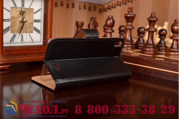 Фирменный чехол-книжка из качественной импортной кожи с мульти-подставкой застёжкой и визитницей для Флай Айкью4516 Торнадо Слим Окта черный