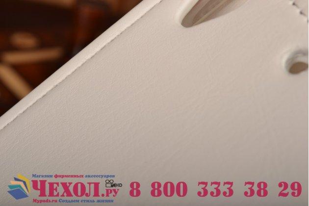 """Фирменный оригинальный вертикальный откидной чехол-флип для Fly IQ4516 Tornado Slim Octa белый из качественной импортной кожи """"Prestige"""" Италия"""