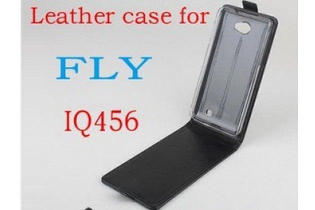 """Фирменный оригинальный вертикальный откидной чехол-флип для Fly IQ456 ERA Life 2 черный кожаный """"Prestige"""" Италия"""
