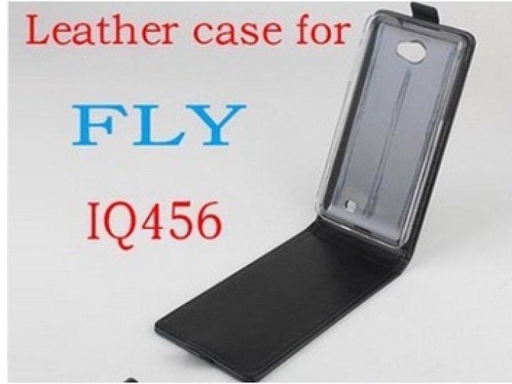 Фирменный оригинальный вертикальный откидной чехол-флип для Fly IQ456 ERA Life 2 черный кожаный